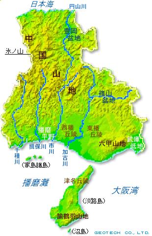 兵庫県の地形・地盤 ... : 日本地図 県境 : 日本