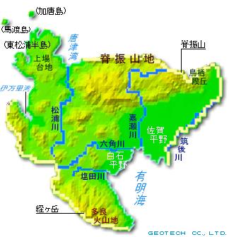 佐賀県の地形・地盤 ... : 九州 平野 地図 : すべての講義